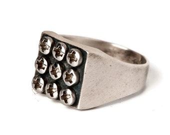 Silver Signet ring-Industrial Ring-Steampunk Ring-Ring for men-Urban Ring-Industrial Jewelry-Engagement Ring-Wedding Ring-Hardware Ring-MJ