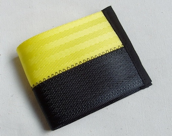Vegan seat belt wallet - Yellow/black