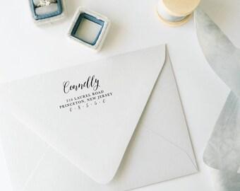 Custom Return Address Stamp, Classic Calligraphy, Rubber Stamp, Wedding