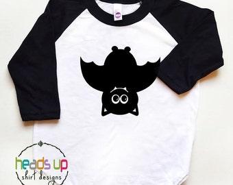 Halloween Shirt Toddler Boy/Girl - Bat Halloween Baby Raglan Shirt  - Baby Halloween Costume tshirt Bat - Hipster Halloween - Trendy Bat