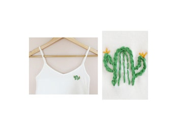 hand embroidered cactus plant tank top / camisole // size M
