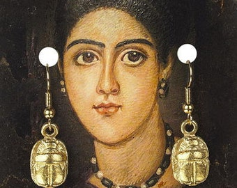 Egyptian Gold Plated Scarab Earrings