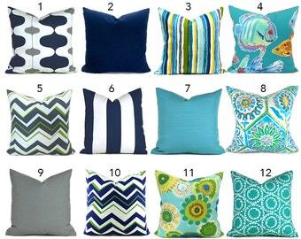 Indoor Outdoor Pillow Covers ANY SIZE Navy Blue Outdoor Pillows Outdoor Decorative Pillow Turquoise Pillow Outdoor Navy Turquoise You Choose