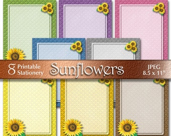 Sunflowers Printable Stationery | Autumn Digital Paper | Floral Digital Download | Scrapbooking Paper | Letterhead size | Paper Crafts