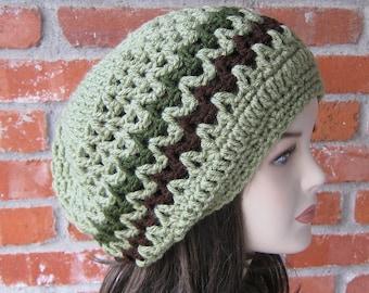Dusty Green slouchy beanie, smaller Dread Tam hat, Hippie Dreadlocks Hat, Slouch Beanie, Baggy hat, women beanie, crochet hat, vegan beanie