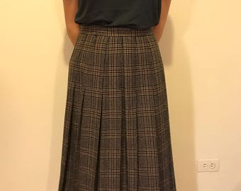 Navy and Taupe Plaid Pleated Skirt