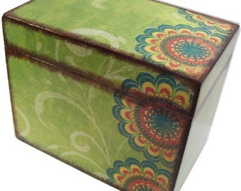 Recipe Box Decoupaged , Handcrafted, Kitchen Storage, Organization, Holds 4x6 Recipe Cards  MADE To ORDER Green Retro Mod