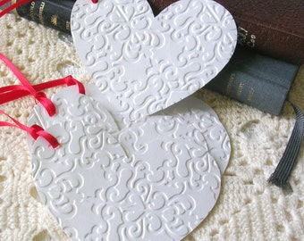Valentine Tags - White Heart Gift Tags  - Wedding Anniversary Tags - Set of 6 Double Layer Shimmer Embossed Heart Tags