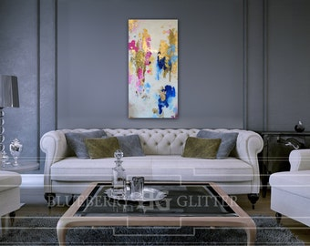 "Sold! Abstract Art Large Canvas Painting White, Gold, Navy Blue, Fuchsia, Ombre Glitter with Glass and Resin Coat 18"" x 38"" gold leaf"