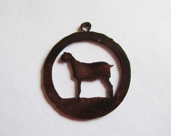 Goat in circle charm/pendant #P19