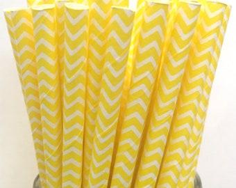 2.85 US Shipping -Yellow Chevron Paper Straws  -  Yellow Chevron Straws- Cake Pop Sticks