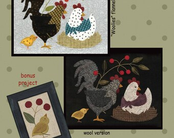Here a Chick Patern #4 by All Through The Night  - Wool or Cotton Applique