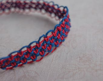 16 inch red and blue hemp necklace