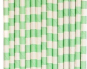 Mint Green and White Sailor Striped Paper Straws