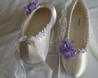 Wedding Flats Ivory Pink Satin Shoes Pink Bridal Flat shoes