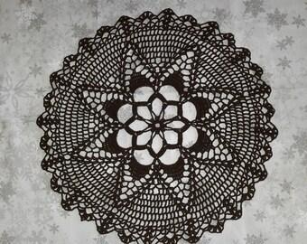 Crochet doily handmade 41 cm, black