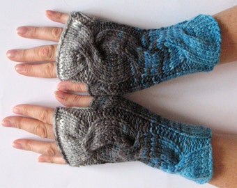 Fingerless Gloves Gray Black White Blue Arm Warmers Knit Soft