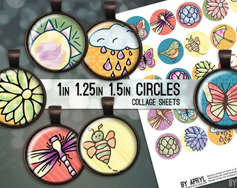 "Digital Collage Sheets Spring Bright Colorful  1 inch 1.25"" and 1.5"" Circles Printable Download for Pendant Magnet Bottle Cap Crafts JPG"