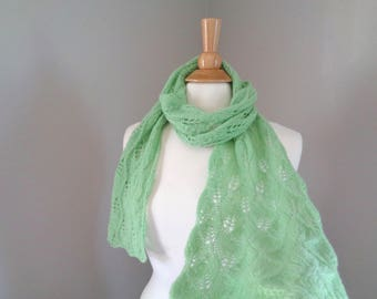 Leaf Green Cashmere Scarf, Hand Knit Luxury Scarf, Lacy Leaf Pattern, Long Women's Scarf, Super Soft