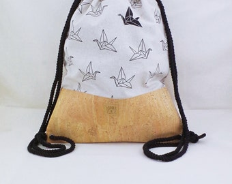 Cork Gymbag in 2 variants-sports bag origami crane, bird