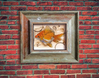Coffee Art- Goldfish, Watercolor Painting, Goldfish Print, Fish Print, Goldfish Painting, Art Print, Fish Painting