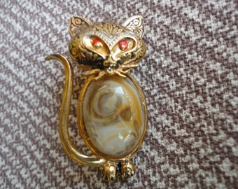Vintage Damascene Cat Brooch