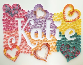 Custom Name Wall Hanging: Quilling, Hearts Art, Girl Bedroom or Nursery Decor