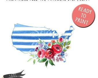 U.S.A Stripe Flowers - INSTANT DOWNLOAD - PDF Printable