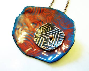 Hand-Enameled on Copper Necklace, Free-Form Asian, Japanese Art Deco Fan Print, Etched, Riveted, Abstract Flower, Shibori Pendant, OOAK