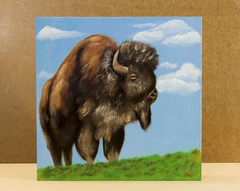 Original Buffalo Oil Painting, Bison Art Painting, Wildlife Art Decor