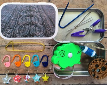 Grey Cables 2: Knitter's Tool Tin - altered atloid box for your craft and sewing bag!