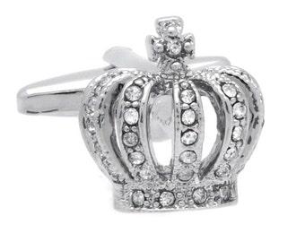 Silver & Crystal Crown Cufflinks