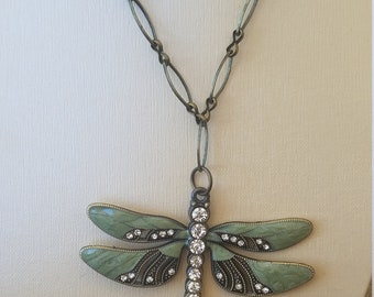 Beatoful Dragonfly on antiqued brass 30in chain with 2in extender
