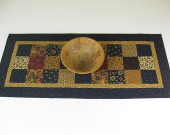 "Quilted Table Runner, Patchwork Table Runner, 14 3/4"" X 33"""