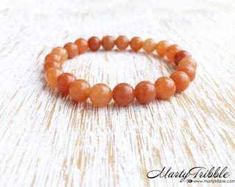 Aventurine Bracelet, Mala Beads Bracelet, Orange Stone Bracelet, Sacral Chakra Bracelet, 2nd Chakra, Boho Healing Crystal Gemstone Bracelet