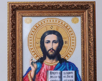 "Picture embroidered beaded ""icon the Lord Almighty"". Handmade."