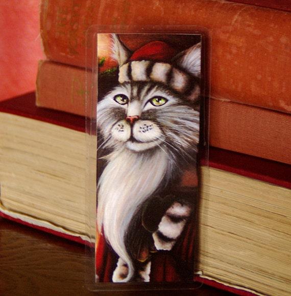 Santa Claus Cat Christmas Bookmark