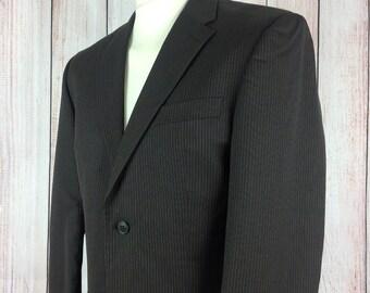 Mens Pierre Cardin Blazer Jacket Size 38 Reg - Brown Pinstripe Wool Single Breasted