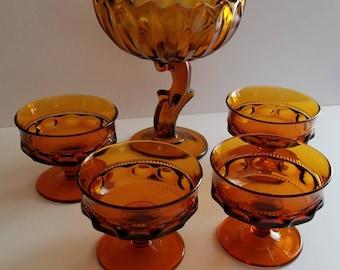 Vintage amber glass pedestal dish with 4 dessert bowls