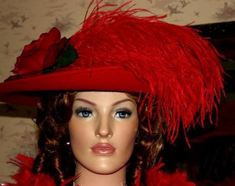 Kentucky Derby Hat Edwardian Hat Downton Abbey Tea Hat Kentucky Derby Hat Ascot Hat Wide Brim Hat Women's Red Hat - Lady Yorkshire