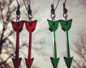 Green Arrow or Red Arrow Laser Cut Acrylic Pendant Earrings with Hypoallergenic Option