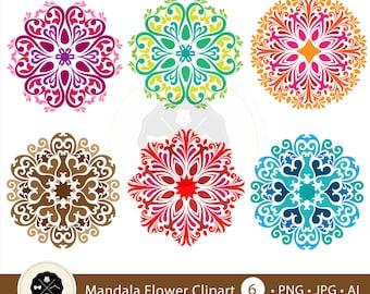 Mandala Flower Clipart,flower pattern clipart,flower clipart,decorative mandala,digital download