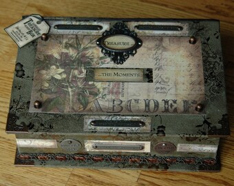 Handmade Keepsake Box 'Treasure the Moments'  Vintage Designed - Microsuede