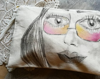 F E M M E- BITCHIN' Summer Series - Hand drawn/painted Canvas clutch bag - Ink and Watercolor