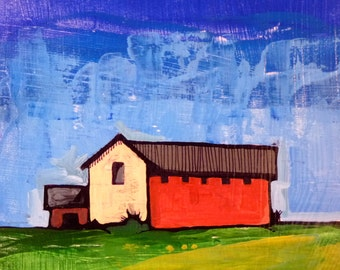 Red Barn 8 x 8 x .5 original acrylic painting, original landscape painting, Simple painting of house, new england house, landscape painting