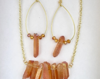 Rust Crystal necklace and earring set
