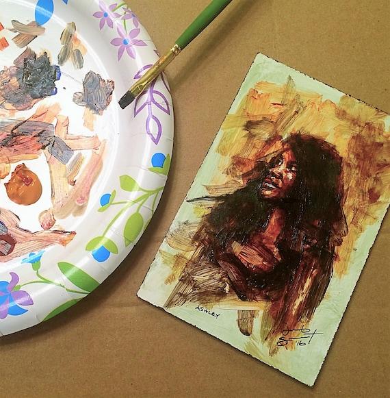 """Life Drawing - Ashley - 6""""x4"""" - Acrylic on Board Framed"""
