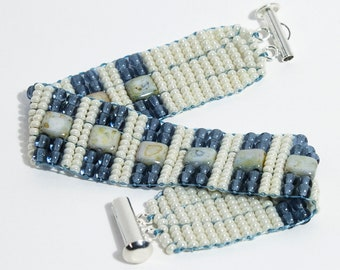 Stylish Tile Bead, Czech Glass Druk Bead, and Seed Bead Bracelet in Blue and Cream