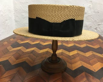 Vintage Nicolson Men's Boater Straw Hat