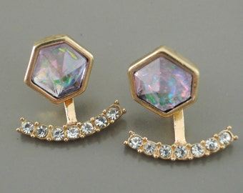 Ear Jackets - Opal Earrings - Crystal Ear Jackets - Geometric Stud Earrings - Trending Earrings